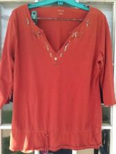 A.N.A Women's Size Large Blouse Top Shirt Peasant Short Sleeve Embroidered