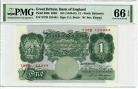 Great Britain 1 Pound Note 1949-55 Pick#369b PMG GEM UNC 66 EPQ  - Beale  - Rare