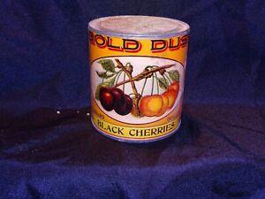 Vintage tin can paper label Gold Dust brand Black cherries Sacramento Cal.