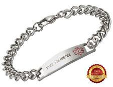 Type 1 Diabetes Stainless Steel Health Bracelet Medical Alert ID Engraved Chain
