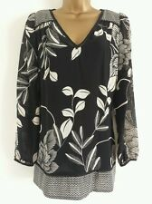 NEW PER UNA M&S 8 10 Chiffon Leaf Print Black Tunic Top Blouse Summer