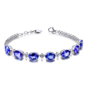 Charm 925 Silver Women Blue Sapphire Gems Bracelet Wedding Jewelry Wholesale