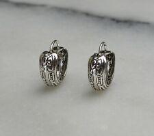 Genuine 925 Solid Sterling Silver Vintage Style Patterned Hoop Earrings MS30759