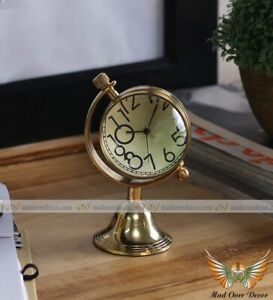 COLLECTIBLE SOLID BRASS ARK BELL BOTTOM BRASS OFFICE ROOM TABLE TOP DECOR CLOCK