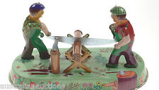 TIN TOY MEN SAWING LOGS WIND UP TOY CLOCKWORK COLLECTABLE