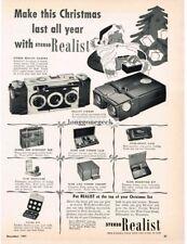 1951 Stereo Realist 3-D 35mm Camera Santa Claus Vintage Print Ad