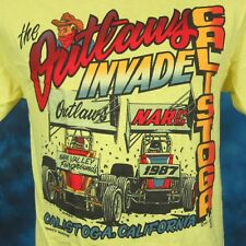 Nos vtg 80s World Of Outlaws Sprint Car Racing T-Shirt S/M cartoon cowboy narc