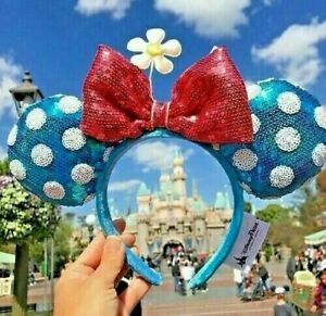 Disney Parks Teal Polka Dot Minnie Ears Sequin Headband Hat with Flower