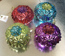 "New RAZ IMPORTS Set Of 4 JEWELED INDENT ORNAMENTS 4"" Jewel Colors Glass"