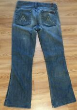 Seven 7 for all Mankind Medium Distressed A POCKET Blue Jeans, Women's Sz 28