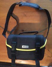 NIKON SLR CAMERA BAG w/ Padded Shoulder Strap, Compartments Black Yellow Trim NM