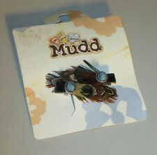 Mudd Girls Brown Feather Hair Clips with Blue Colored Stone (Set of 2) NEW