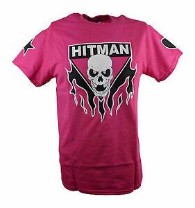 Bret Hitman Hart Pink Mens T-shirt Single Sided Print
