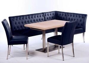 Eckbankgruppe Kunstleder blau /Sonoma Eiche Essgruppe Tischgruppe modern design