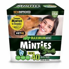 Minties Dental Dog Treats 40 ct Five Natural Breath Fresheners Maximum Mint