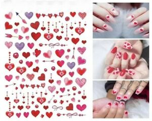 Nail Art Stickers Decals Transfers Valentines Day Love Hearts Lace Bows (W454)