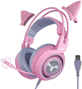 Pink Gaming Headset LED Microphone Pro Gamer Girl Headphones Mic for PC Laptop