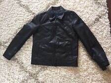 Tommy Hilfiger Men's Classic Faux Leather Jacket - Small Black Full Zip
