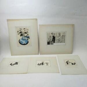 5x Art Prints by Thos. A. Godfrey Musicians Various Styles Card Mounted Lot C