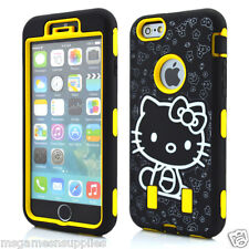 Yellow Hello Kitty DEFENDER Armor Shockproof Hybrid 3Piece Case for iPhone 6 4.7