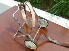 Vintage Suitcase Trolley Wheels Luggage Carrier Leather Strap 50s Prop Display