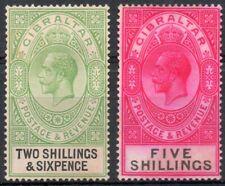 Gibraltar 1925 KGV 2/-6 & 5 shillings mint stamps (no gum)