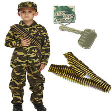 ARMY BOY KIDS SOLDIER CAMOUFLAGE  FANCY DRESS COSTUME OUTFIT BULLET BELT DOG TAG