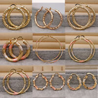 Statement  18K Gold Filled Hollow Circle Carved Twist Hoop Dangle Earrings Lady