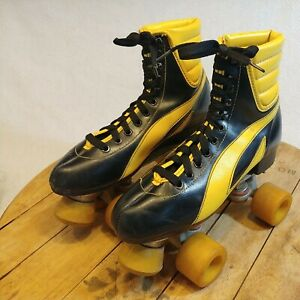 Vintage Black And Yellow Roller Skates Size 6
