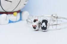 2xAuthentic Pandora Classic Disney  Mickey 791633 Murano Glass Charm bead B21