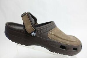 CROCS Leather Clogs Brown Sz 15 Men