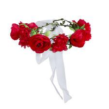 Red Bridal Ribbon Flower Headband Garland Wreath Crown Wedding Emulational
