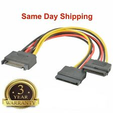 2x SATA Power 15-pin Y-Splitter Cable Adapter Male to Female for HDD Hard Drive