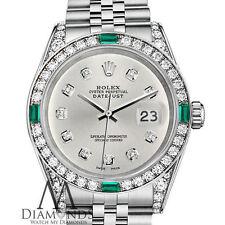 Mujer Rolex Datejust 36mm acero inoxidable color Plateado Diamante Emerald Reloj