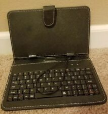 Black Leather Case Cover Micro USB Keyboard for 7'' inch Tablet