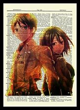 Eren Mikasa Attack On Titan Anime Dictionary Art Print Poster Picture Book Japan