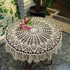 80CM Hand Crochet Flower Tablecloth Round Table Runner Cover Round Cloth Mat