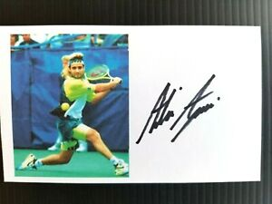 """GRAND SLAM"" TENNIS CHAMPION ANDRE AGASSI AUTOGRAPHED 3X5 INCH INDEX CARD"