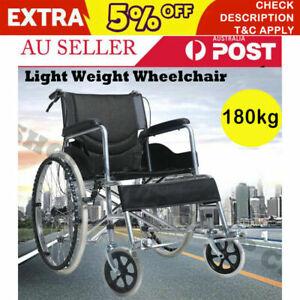 "NEW 24""Folding Wheelchair Light Weight Manual Mobility Aid Brake Push Aluminium"