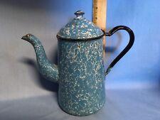 Blue Graniteware Coffee Pot Gooseneck Shiny Mottled Enamel Antique Heavy Sturdy