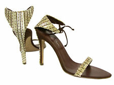 $540 ALEXANDRA NEEL Carmen Brown Suede Leather Beaded Sequin Heels Sandal Shoes