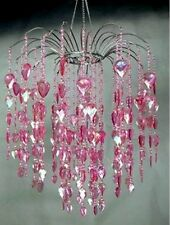 Large Pink Acrylic Faceted Crystal Prism Gem Waterfall Chandelier