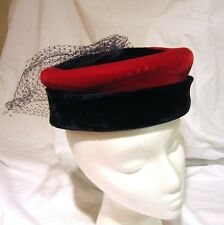 Vintage Navy Red Velvet Pillbox Style Hat With Veil Retro Chic