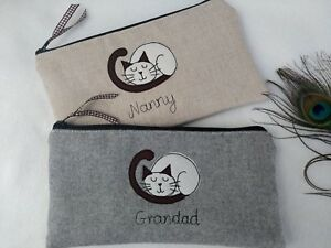 Personalised Cat Siamese Pencil Case Grey Wool or Linen Word Choice Dot lining