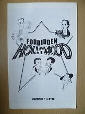 CORONET THEATRE PROGRAMME- FORBIDDEN HOLLYWOOD by Gerard Alessandrini