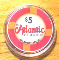 $5. The Atlantic Club Casino Chip - 2012 - Atlantic City, New Jersey