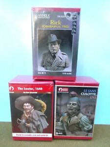 ANDREA miniatures1/10 scale Busts Rick/culotte/looter resin/ metal kits MIB2000s