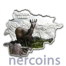 Andorra 2013 Nature Chamois Map Shaped 10 Dinar Pure Silver 1 Oz Colored Coin