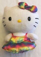 Ty Beanie Babies Hello Kitty Rainbow Dress & Bow No Hang Tag
