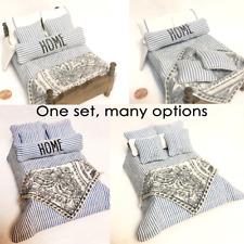 Miniature Dollhouse Comforter Set Bedspread 5 Pillows Throw Blanket 1:12 Double